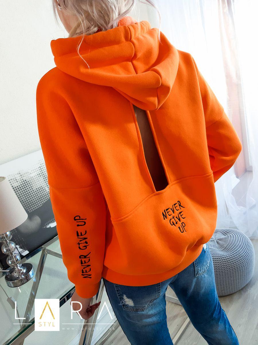 fde87179222c ... oranžová Štýlová mikina s výrezom