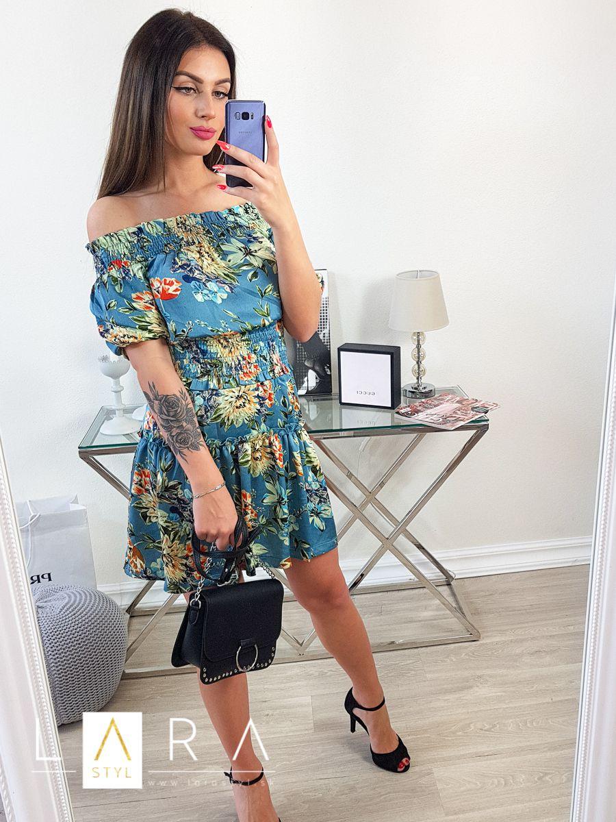 c37f76578 Saténové kvetované šaty, modré Saténové kvetované šaty, modré empty