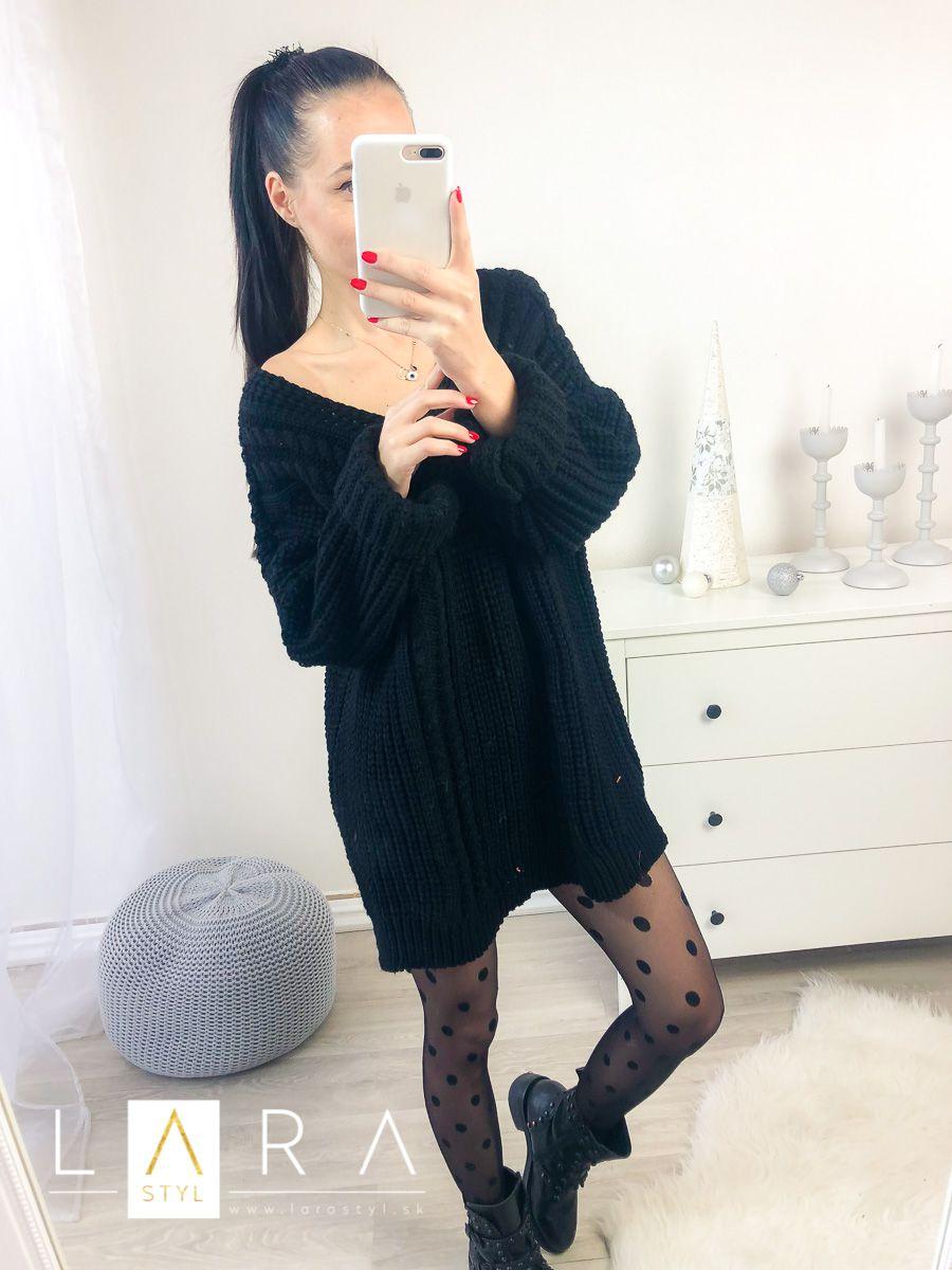 1319de623 Predĺžený pletený sveter, čierny Predĺžený pletený sveter, čierny empty