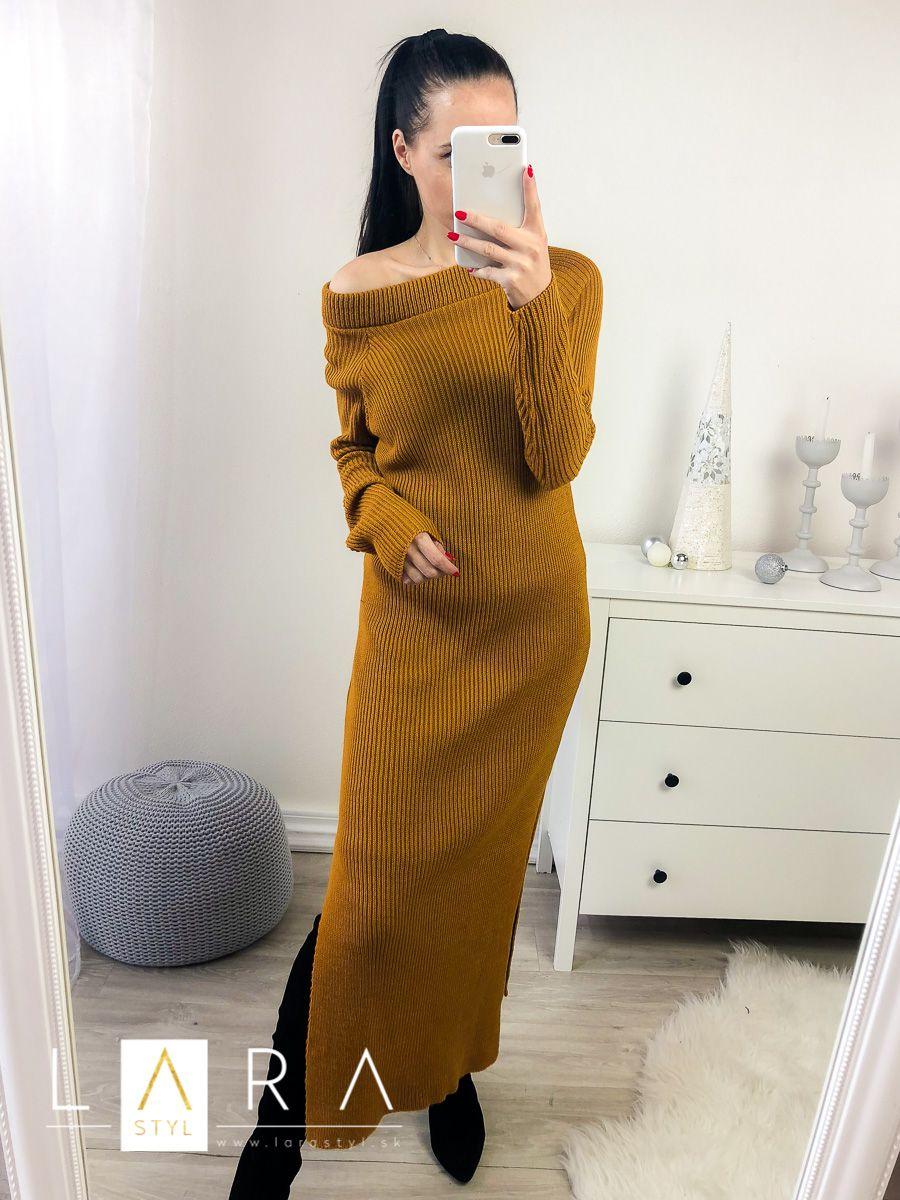 a55c45146b56 ... okrové Pletené šaty s rozparkom